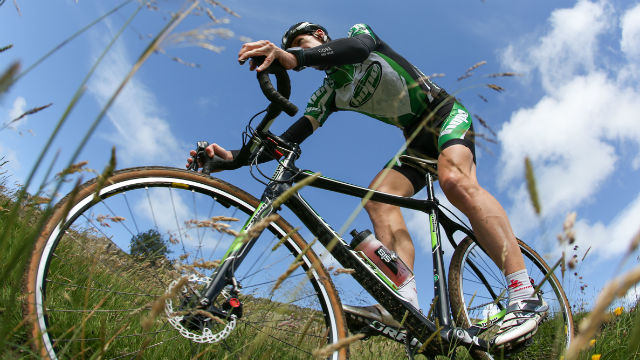 Rob Jebb using the Hope Adaptor for disc brakes (Images Steve Thomas)