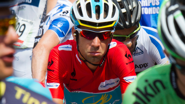 Even in the Vuelta leader's jersey Vincenzo Nibali looks like he'd rather be somewhere else. Keeping the motivation late into the year isn't always easy. (Getty Images)