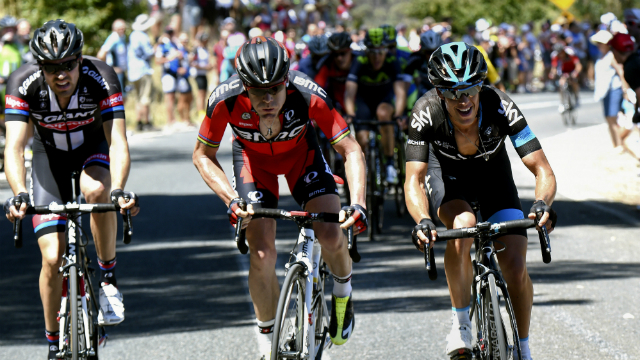 Too early? Richie Porte attacks on the lower slopes of the Paracombe climb, on Stage 3 of the Tour Down Under. (AFP/Mark Gunter)