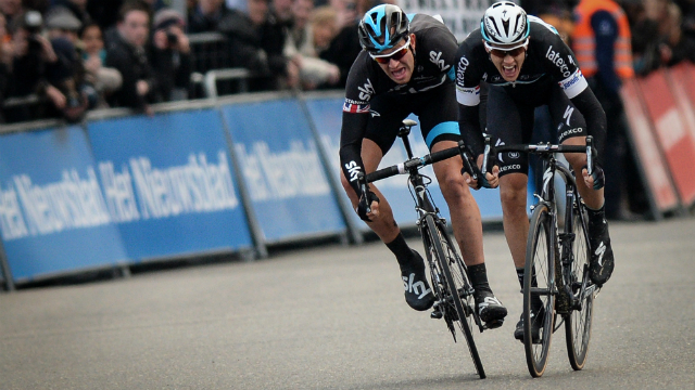 Putting Etixx-Quick-Step to the sword... Ian Stannard of Team Sky (L), despite being outnumbered three-to-one at Het Nieuwsblad last Saturday, provided a masterclass in power and tactics. (AFP)