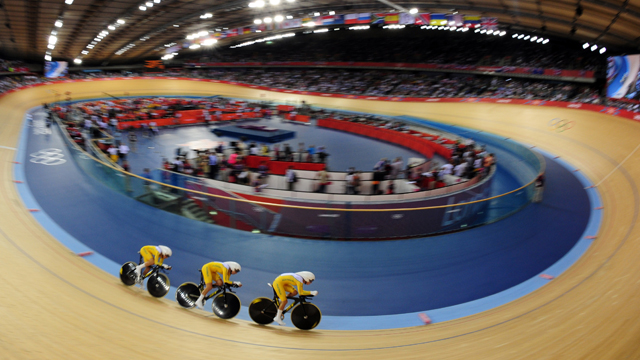 Australia's Annette Edmondson, Melissa Hoskins and Josephine Tomic compete during the London 2012 Olympic Games (Getty)