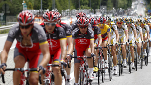 Janez Brajkovic, in the yellow jersey, pedals in the pack during the sixth stage of the 62nd Dauphine Libere last year. Photo: AAP