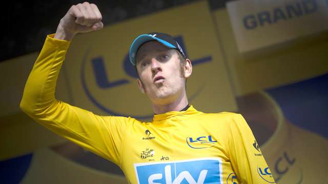 Bad attitude ... Bradley Wiggins celebrates after winning the Stage 9 time-trial at the Tour de France (Getty Images)