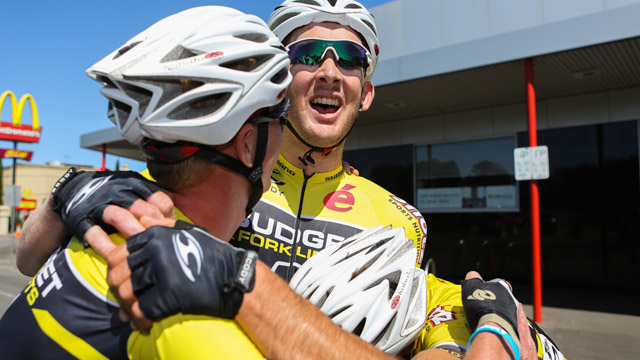 Sam Horgan celebrates with team-mates after winning Melbourne to Warrnambool (Mark Gunter)
