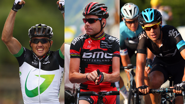 Anyone's guess... Three of the contenders for Sunday's elite men's road race; Simon Gerrans, Cadel Evans and Richie Porte. (Getty Images)