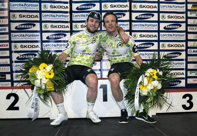 Photo: Cavendish and Omega Pharma-QuickStep team mate Iljo Keisse claimed the spoils in Vienna.