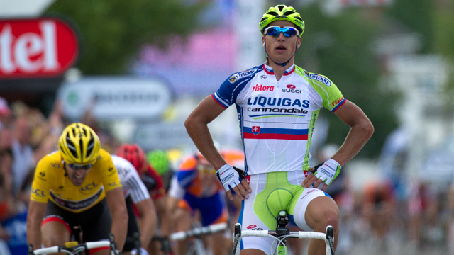 Peter Sagan (R) celebrates a victory at the end of the 198km first stage of the 2012 Tour de France (Getty)