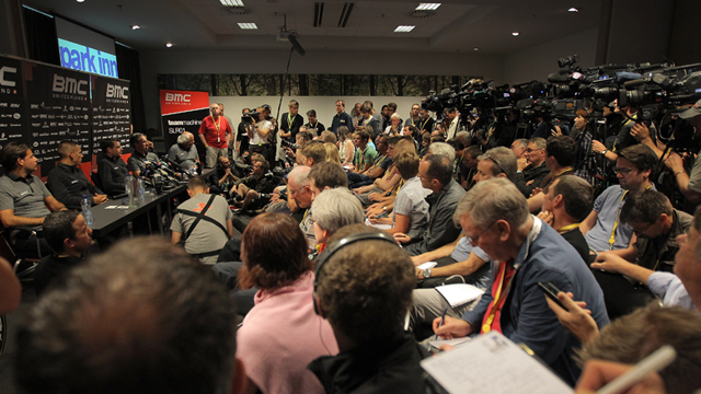 The pre-Tour BMC press conference. (Getty Images)