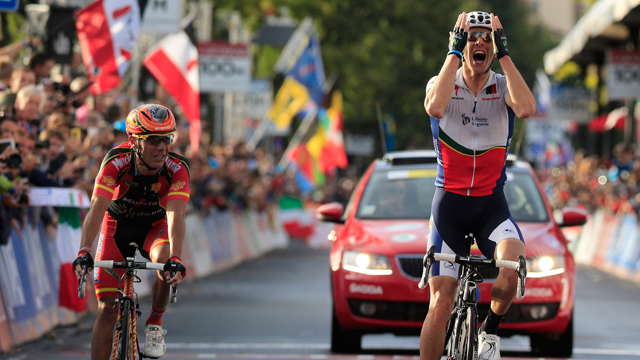 Portugal's Rui Costa (R) took a different route to winning the UCI Road World Championships in Florence (Movistar)