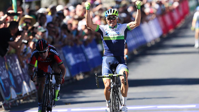 Simon Gerrans takes his second national title, and makes it three straight for Orica-GreenEDGE since 2012. (Mark Gunter)