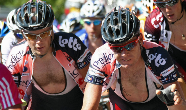 Chris Horner and Cadel Evans riding for Predictor-Lotto during the 2007 Tour de France (Getty)
