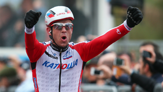 In from the cold... Alexander Kristoff prevails in the 2014 edition of Milan-San Remo. (Getty)