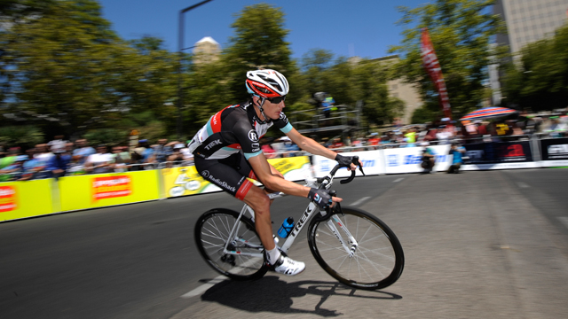Andy Schleck riding solo during the final stage of the 2913 Santos Tour Down Under (AAP)