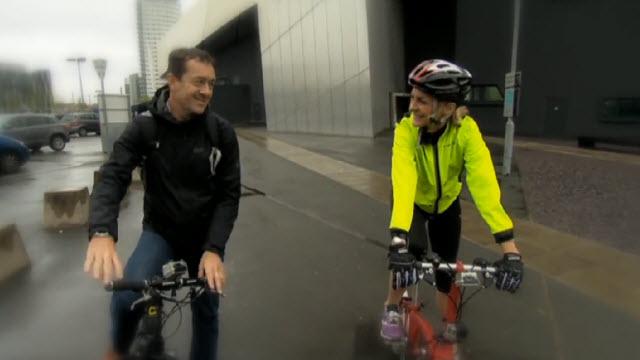 Chris Boardman, left, beside BBC presenter Louise Minchin. (BBC)