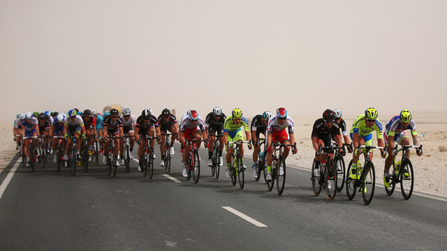 Echelons were the order of the day on Stage 2 of the Tour of Qatar (Getty)