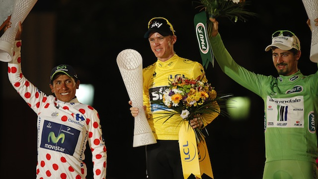 The final podium in Paris... Nairo Quintana, Chris Froome, and Peter Sagan. (Getty Images)
