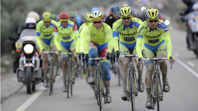 Skylike... A phalanx of Tinkoff-Saxo riders set the pace during the fourth stage of the Vuelta a Andalucia. (Tinkoff-Saxo)