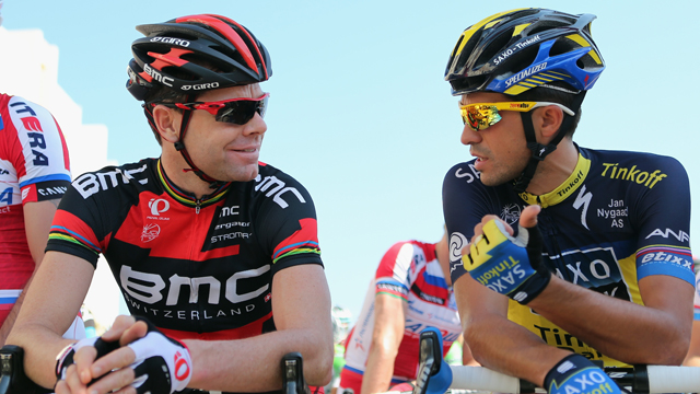 Former Tour de France winners Cadel Evans (L) and Alberto Contador (R) will be two of the riders to watch (Getty)