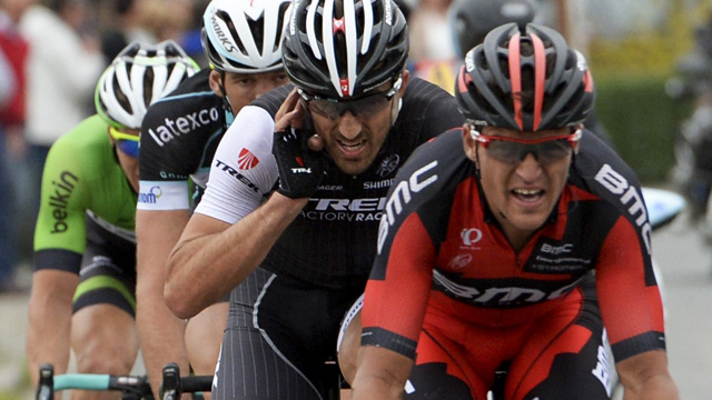 Greg Van Avermaet leads Fabian Cancellara at De Ronde. The order would be reversed at the finish in Oudenaarde. (AAP)