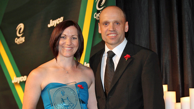 Anna Meares with Sports Minister, Senator Mark Arbib (Getty)