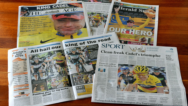 Cadel Evans's Tour de France triumph was greeted in Australia with saturation media coverage. (Getty Images)