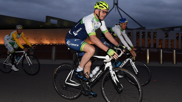 PM Tony Abbott in action during an early morning ride with Orica-GreenEDGE outside Parliament House in Canberra in November, 2014 (AAP)