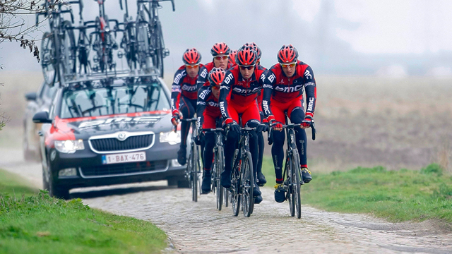 The BMC Racing team during a training session prior to the 110th edition of the Paris-Roubaix (AAP)