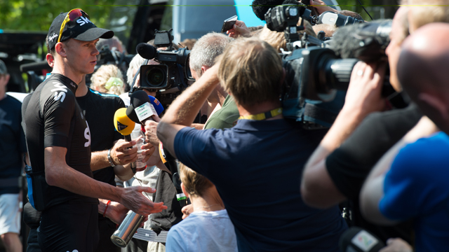 Team Sky's Chris Froome mobbed by media at the press conference on the second rest day of the Tour De France.