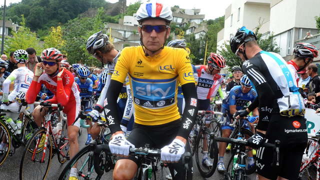 Cheer up ... Bradley Wiggins is a reluctant wearer of the yellow jersey at the Criterium du Dauphine (Getty Images)