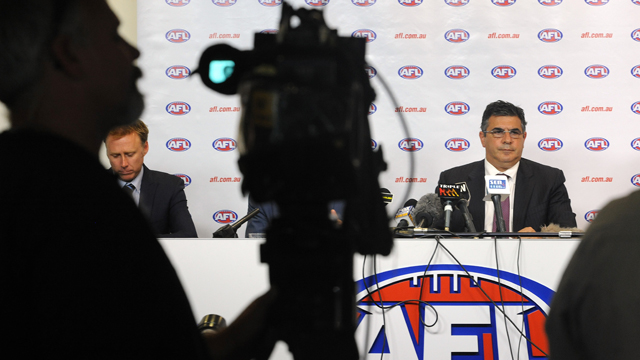 AFL CEO Andrew Demetriou holds a press conference after holding a drug summit with club CEO's at AFL Houses in Melbourne, Wednesday, Jan. 30, 2013 (AAP)