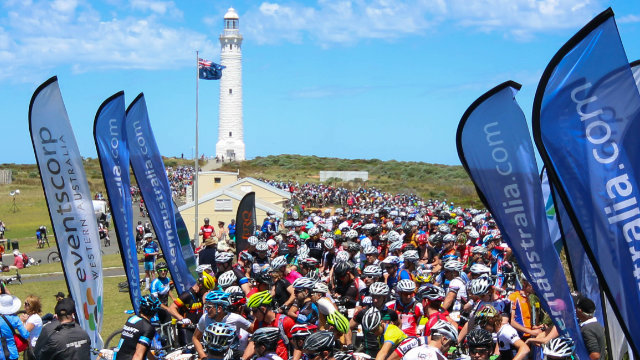 Riders gather at the start of the opening stage of the Cape to Cape MTB epic (Supplied)