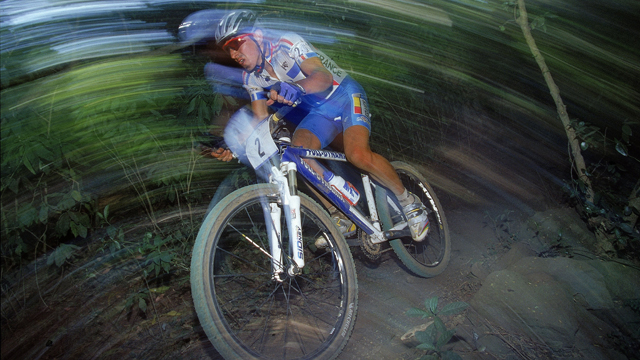 Miguel Martinez on his way to winning the men's mountain bike race at the Sydney 2000 Olympic Games (Getty)