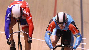 Shane Perkins and Jason Kenny of Great Britain fight it out in Melbourne (Getty)