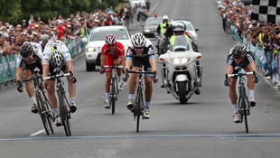 HTC-Highroad's Matt Goss (L) wins the sprint for silver at the Australian Road Championships (Image: John Veage)