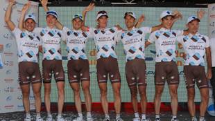 The French AG2R squad celebrate their team win at the 2011 Santos Tour Down Under (AAP)