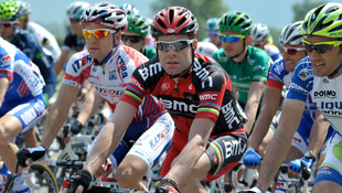 Cadel Evans sits in during the first stage of the Tour de Romandie (AAP)