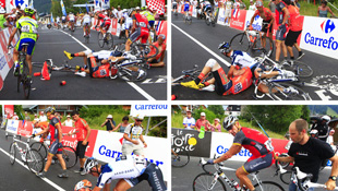 A mass pileup involving Lance Armstrong at the 2010 Tour de France (Getty)