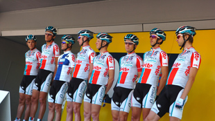 The Omega Pharma Lotto squad presented at the Fleche Wallonne (Image: Sirotti)