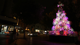 A Christmas tree made entirely of recycled bicycles is unveiled at the Rocks on November 19, 2010 in Sydney. (Getty)