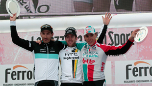 (L-R) Fabian Cancellara, Matt Goss and Philippe Gilbert on the podium following the finish of the Milan-SanRemo (Getty)