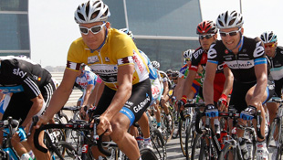 Heinrich Haussler in yellow at the recent Tour of Qatar (AAP)