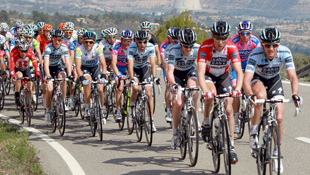 The peloton rolls through the countryside at the Tour of Catalonia (AAP)