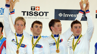 Australia's men's team pursuit riders Cameron Meyer, Jack Bobridge, Michael Hepburn, Leigh Howard (AAP)