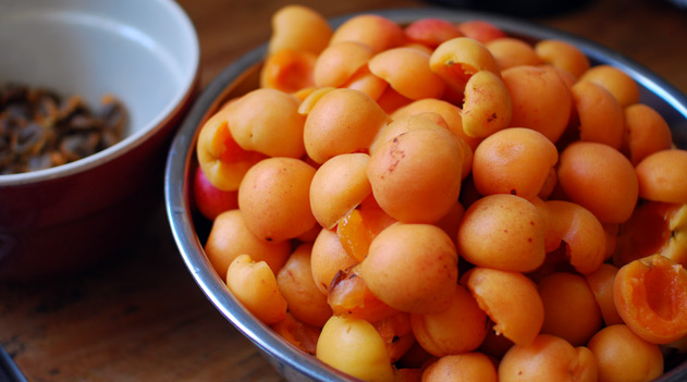 halved apricots in a stainless steel bowl