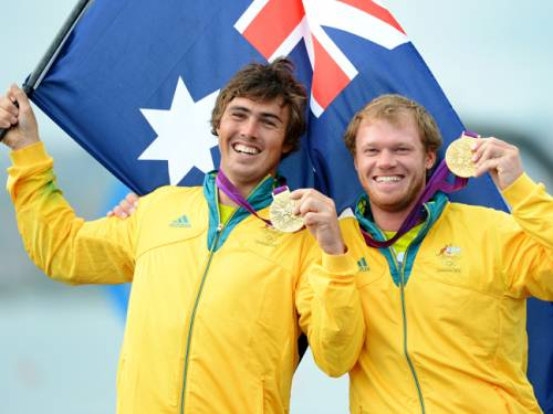 Outteridge and Jensen claimed Australia's second gold of the Olympic sailing competition at Weymouth, after Tom Slingsby's Laser victory. (Getty)