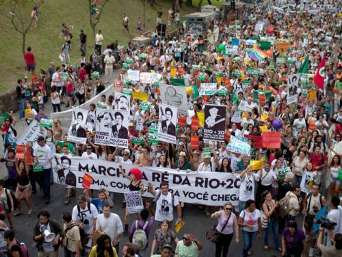 Activists march in protest during the United Nations Conference on Sustainable Development, or Rio 20, in Rio de Janeiro, Brazil. (Photo: AAP)