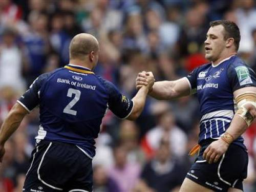 Leinster's Cian Healy (R) celebrates with teammate Richardt Strauss after scoring a try against Ulster during their Heineken Cup final rugby match at Twickenham Stadium in London May 19, 2012. REUTERS/Stefan Wermuth
