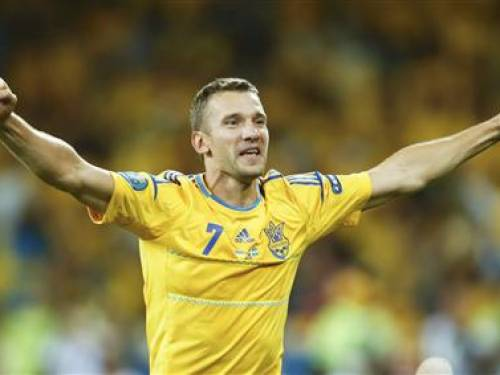 Ukraine's Andriy Shevchenko celebrates after winning their Group D Euro 2012 soccer match against Sweden at the Olympic stadium in Kiev, June 11, 2012. REUTERS/Eddie Keogh