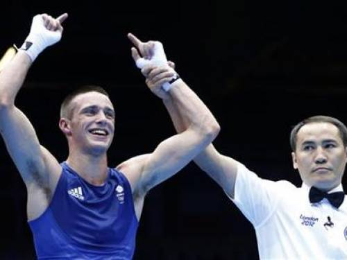 Britain's Josh Taylor reacts after defeating Brazil's Robson Conceicao in the men's light (60kg) Round of 32 boxing match at ExCeL venue during the London 2012 Olympic Games July 29, 2012. REUTERS/Murad Sezer