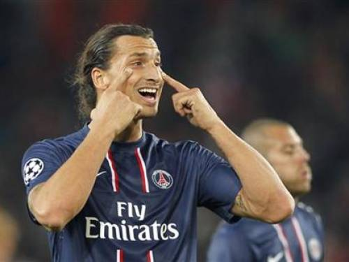 Paris St Germain's Zlatan Ibrahimovic reacts during his team's Champions League soccer match against Dynamo Kiev at the Parc des Princes stadium in Paris, September 18, 2012. REUTERS/Charles Platiau